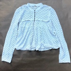Free People Ivory Crochet Lace Bohemian Top